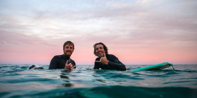 happy surfers